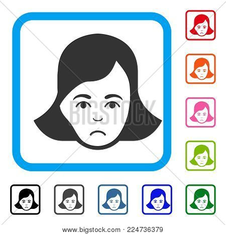 Sad Lady Face vector icon. Human face has stress mood. Black, gray, green, blue, red, pink color variants of lady face symbol in a rounded rectangular frame.
