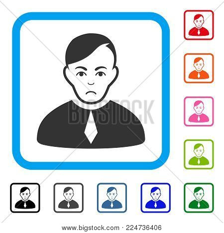 Unhappy Loyer vector pictograph. Person face has dolor emotions. Black, grey, green, blue, red, orange color variants of loyer symbol inside a rounded rectangle.