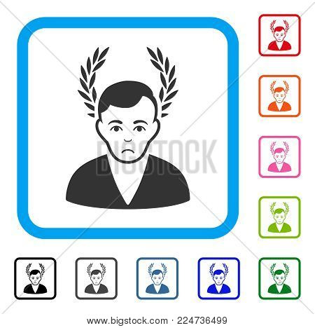 Sad Man Glory vector icon. Person face has depression mood. Black, grey, green, blue, red, orange color variants of man glory symbol inside a rounded square.