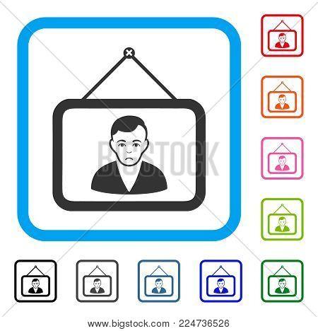 Dolor Man Portrait vector pictogram. Person face has sadness emotions. Black, gray, green, blue, red, orange color variants of man portrait symbol inside a rounded square.