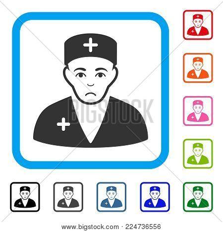 Dolor Medic vector pictogram. Human face has depression feeling. Black, gray, green, blue, red, orange color variants of medic symbol in a rounded frame.