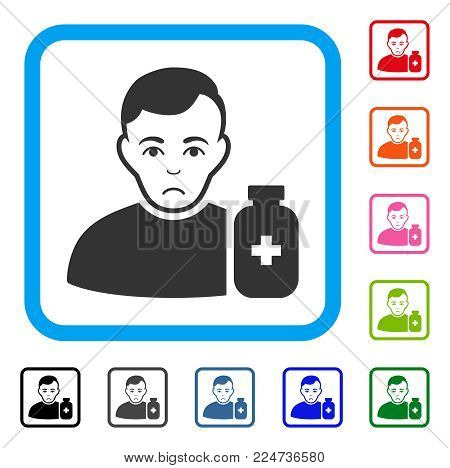 Unhappy Medical Pharmacist vector pictogram. Human face has sadness feeling. Black, gray, green, blue, red, orange color variants of medical pharmacist symbol in a rounded frame.