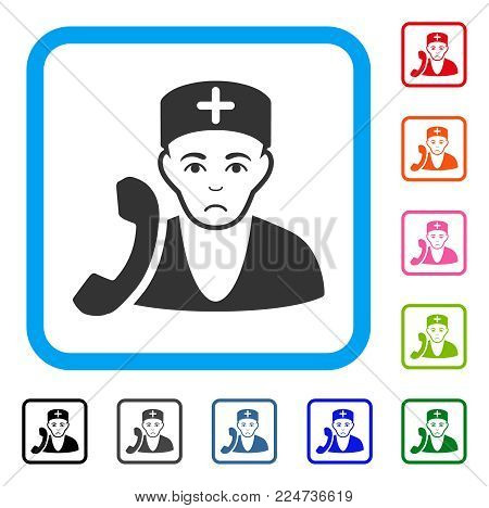 Sadly Medical Receptionist vector pictograph. Human face has depression emotions. Black, gray, green, blue, red, orange color versions of medical receptionist symbol in a rounded frame.