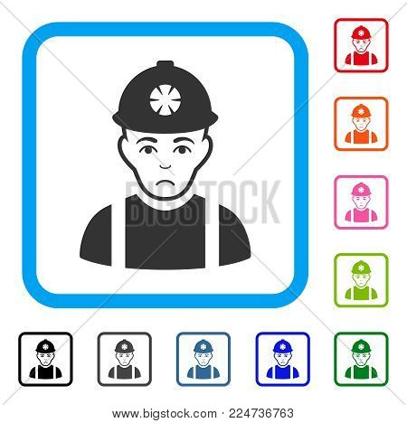 Unhappy Miner vector icon. Person face has depression emotions. Black, grey, green, blue, red, orange color versions of miner symbol in a rounded rectangular frame.