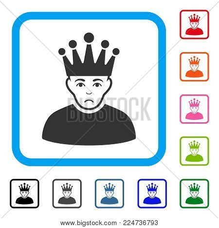 Dolor Moderator vector icon. Human face has desperate expression. Black, grey, green, blue, red, pink color variants of moderator symbol in a rounded frame.