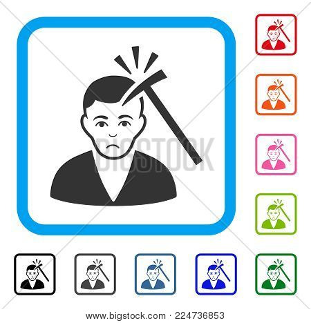 Dolor Murder With Hammer vector pictogram. Person face has desperate feeling. Black, grey, green, blue, red, orange color versions of murder with hammer symbol inside a rounded rectangular frame.
