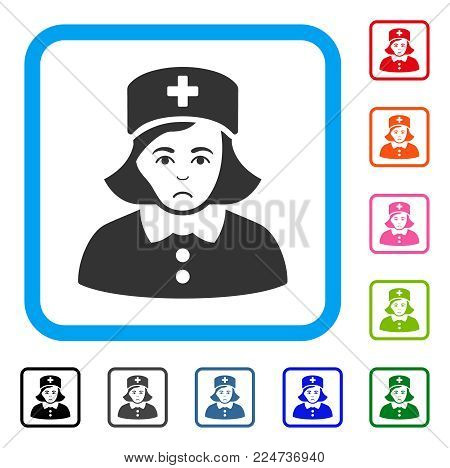 Sadly Nurse vector icon. Human face has affliction mood. Black, grey, green, blue, red, pink color versions of nurse symbol in a rounded squared frame.