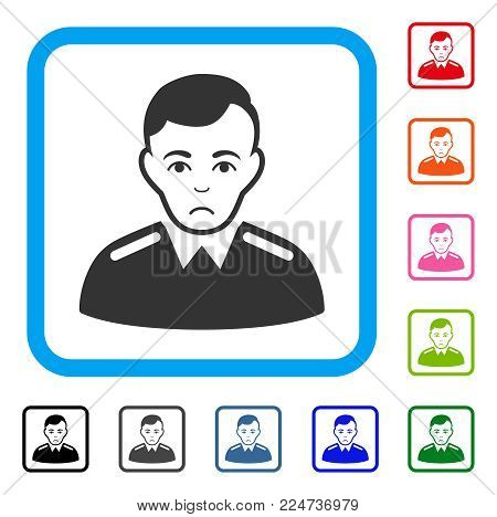 Dolor Officer vector pictograph. Human face has sadly feeling. Black, grey, green, blue, red, orange color versions of officer symbol in a rounded rectangular frame.