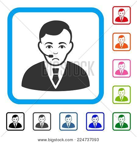Pitiful Operator vector pictogram. Human face has desperate sentiment. Black, gray, green, blue, red, orange color variants of operator symbol in a rounded squared frame.