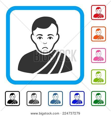 Unhappy Patrician Citizen vector pictograph. Person face has dolour sentiment. Black, grey, green, blue, red, pink color versions of patrician citizen symbol in a rounded rectangular frame. poster