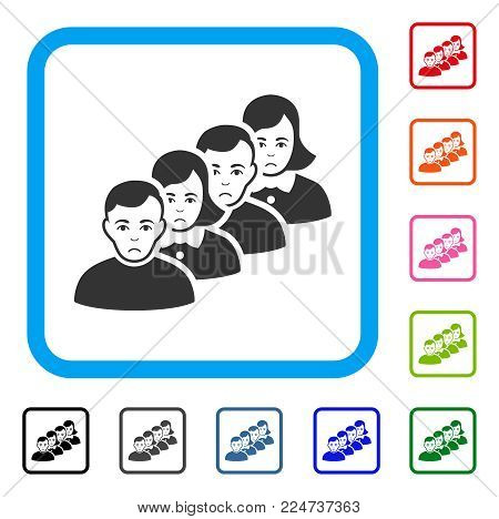 Dolor People Queue vector icon. Person face has depression sentiment. Black, grey, green, blue, red, pink color variants of people queue symbol in a rounded rectangular frame.
