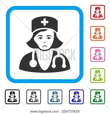Unhappy Physician Lady vector pictogram. Human face has sad sentiment. Black, gray, green, blue, red, orange color variants of physician lady symbol inside a rounded frame.