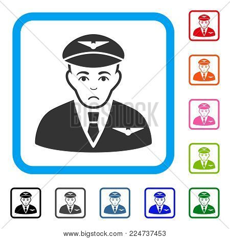 Unhappy Pilot vector icon. Human face has mourning expression. Black, gray, green, blue, red, orange color variants of pilot symbol in a rounded rectangle.