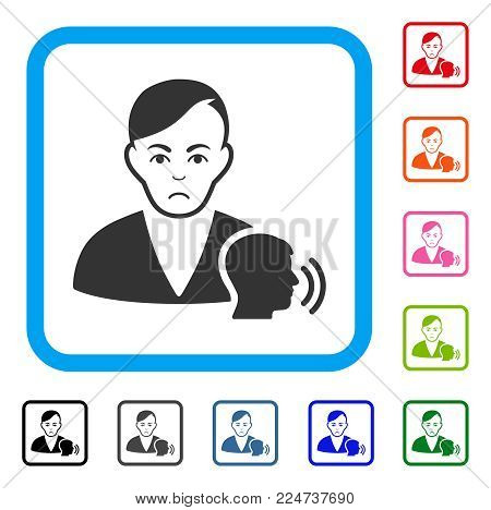 Pitiful Psychoanalysis Talking vector pictogram. Person face has sad mood. Black, gray, green, blue, red, pink color variants of psychoanalysis talking symbol in a rounded frame.