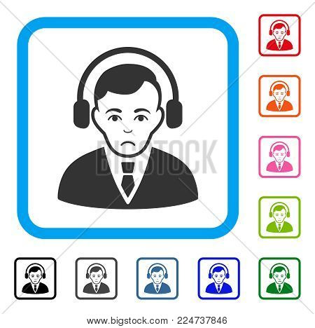 Pitiful Radio Manager vector pictogram. Human face has stress mood. Black, gray, green, blue, red, pink color versions of radio manager symbol in a rounded rectangle.