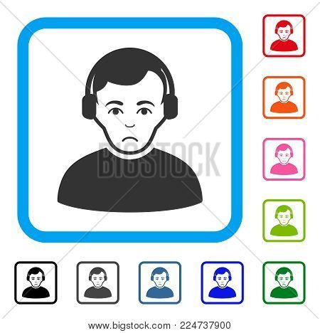 Pitiful Radioman vector pictogram. Person face has grief expression. Black, grey, green, blue, red, pink color versions of radioman symbol inside a rounded square.