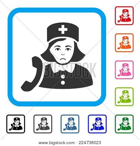Pitiful Receptionist Nurse vector pictograph. Human face has dolor emotions. Black, gray, green, blue, red, orange color variants of receptionist nurse symbol inside a rounded squared frame.