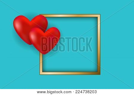 Valentine's day card. Red hearts and golden frame with space for text. Vector illustration EPS10 for Valentines Day card, poster of flyer