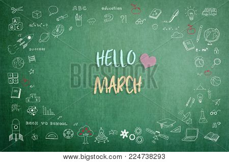 Hello March greeting on green school teacher's chalkboard with creative student's doodle of learning education graphic freehand illustration icon for back to school month concept