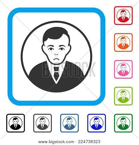 Sad Rounded Gentleman vector pictogram. Human face has dolor mood. Black, grey, green, blue, red, orange color versions of rounded gentleman symbol in a rounded squared frame.
