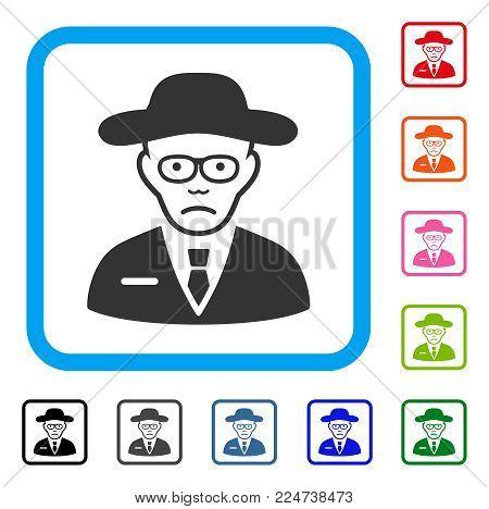 Dolor Scientist vector pictogram. Human face has dolor sentiment. Black, gray, green, blue, red, orange color variants of scientist symbol in a rounded square.