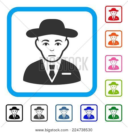 Unhappy Secret Service Agent vector pictograph. Person face has sad emotions. Black, grey, green, blue, red, pink color versions of secret service agent symbol in a rounded squared frame.