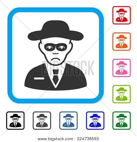 Sad Security Agent vector pictograph. Person face has depressed mood. Black, gray, green, blue, red, orange color versions of security agent symbol inside a rounded square.