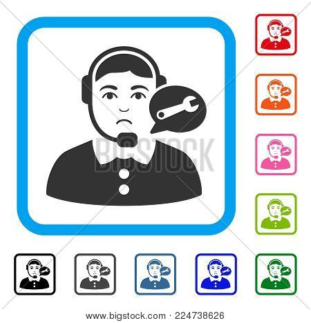 Sad Service Center Woman vector pictograph. Human face has mourning sentiment. Black, grey, green, blue, red, pink color variants of service center woman symbol inside a rounded frame.