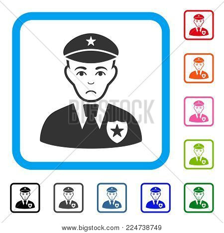 Pitiful Sheriff vector icon. Human face has sad sentiment. Black, grey, green, blue, red, orange color variants of sheriff symbol inside a rounded rectangle.