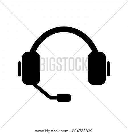 Headset Icon Isolated On White Background. Headset Icon Modern Symbol For Graphic And Web Design. He