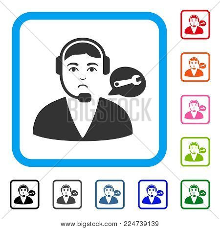 Unhappy Support Center Operator vector pictogram. Human face has desperate emotions. Black, grey, green, blue, red, pink color variants of support center operator symbol in a rounded frame.