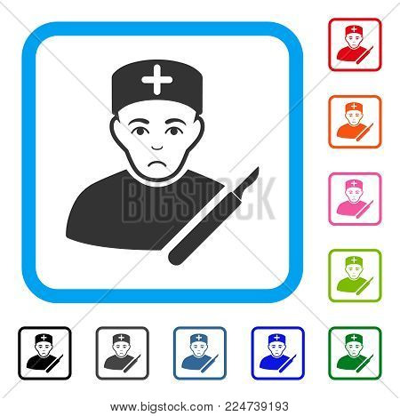 Sad Surgeon vector pictograph. Person face has sadness feeling. Black, grey, green, blue, red, pink color versions of surgeon symbol inside a rounded frame.