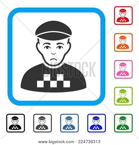 Sadly Taxi Driver vector pictograph. Human face has sad mood. Black, gray, green, blue, red, orange color variants of taxi driver symbol inside a rounded squared frame.