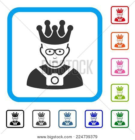 Unhappy Thailand King vector pictograph. Person face has unhappy sentiment. Black, grey, green, blue, red, orange color versions of thailand king symbol inside a rounded rectangular frame.