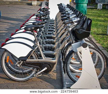 Bicycles stand in a row on a parking place in a city bicycle rental. Walk around a modern city.