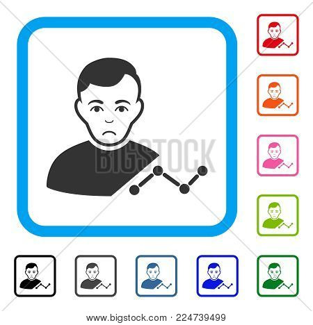 Sadly User Chart vector pictogram. Person face has affliction expression. Black, grey, green, blue, red, orange color versions of user chart symbol in a rounded rectangle.