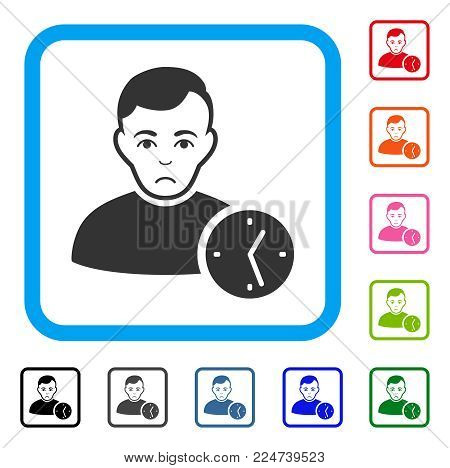 Dolor User Clock vector pictograph. Human face has sadly sentiment. Black, gray, green, blue, red, pink color variants of user clock symbol in a rounded rectangular frame.