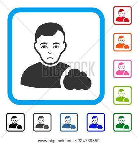 Pitiful User Cloud vector pictograph. Person face has sorrow feeling. Black, grey, green, blue, red, pink color variants of user cloud symbol inside a rounded rectangular frame.
