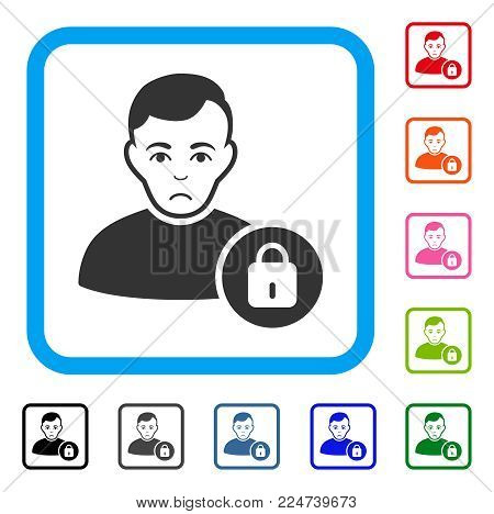 Unhappy User Lock vector pictograph. Person face has affliction sentiment. Black, gray, green, blue, red, orange color variants of user lock symbol in a rounded frame.
