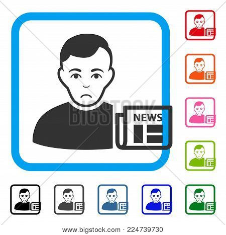 Sad User News vector icon. Human face has dolour sentiment. Black, gray, green, blue, red, pink color versions of user news symbol inside a rounded square.
