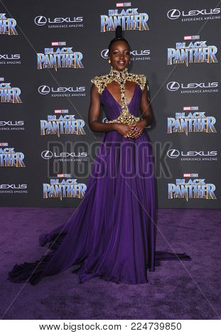 Lupita Nyong'o at the World premiere of Marvel's 'Black Panther' held at the El Capitan Theatre in Hollywood, USA on January 29, 2018.