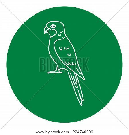 Rosella parrot icon in thin line style. Australian tropical bird symbol in round frame.