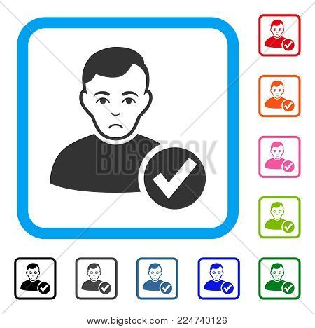 Sad Valid User vector pictograph. Person face has desperate mood. Black, gray, green, blue, red, pink color versions of valid user symbol in a rounded rectangular frame. poster