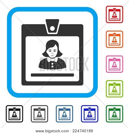 Dolor Woman Badge vector pictograph. Human face has grief emotions. Black, grey, green, blue, red, orange color versions of woman badge symbol inside a rounded frame.