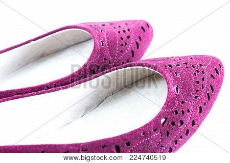 pink shoes isolated on white use for background