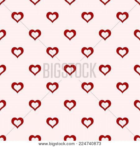 Valentines day background. Abstract vector seamless pattern of red hollow hearts on light baclground. Stylish geometric texture. Love romantic theme. Design for decoration, gift paper, textile.