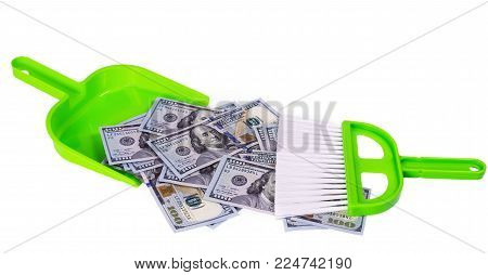 Sweeps Cash Money Banknote In The Shovel On The White Background, Sweeping Brush Shove Concept Garba