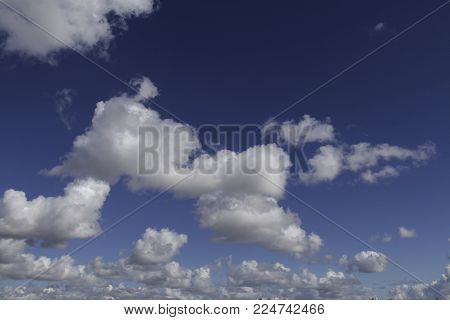 High clouds, visible mass of condensed water vapor floating in the atmosphere