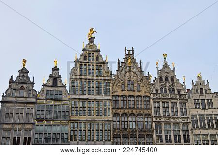 View of Guildhalls old buildings at Grote Markt square of Antwerp, Belgium, low angle view
