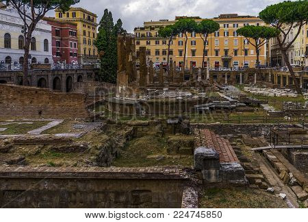 Rome, Italy - September 16 2017: Largo di Torre Argentina archaeological site. Square with the remains of the Theatre of Pompey where Julius Caesar was believed to be assassinated.